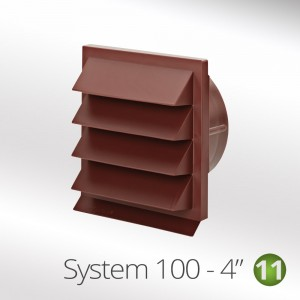 100mm Louvred Wall Vent Red Brick