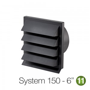 150mm Louvred Wall Vent Grill - Dark Grey