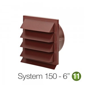 150mm Louvred Wall Grille Vent Red Brick -Terracotta
