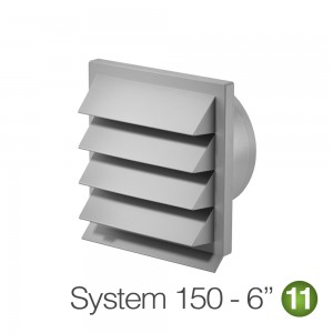 150mm Louvred Wall Vent Light Grey