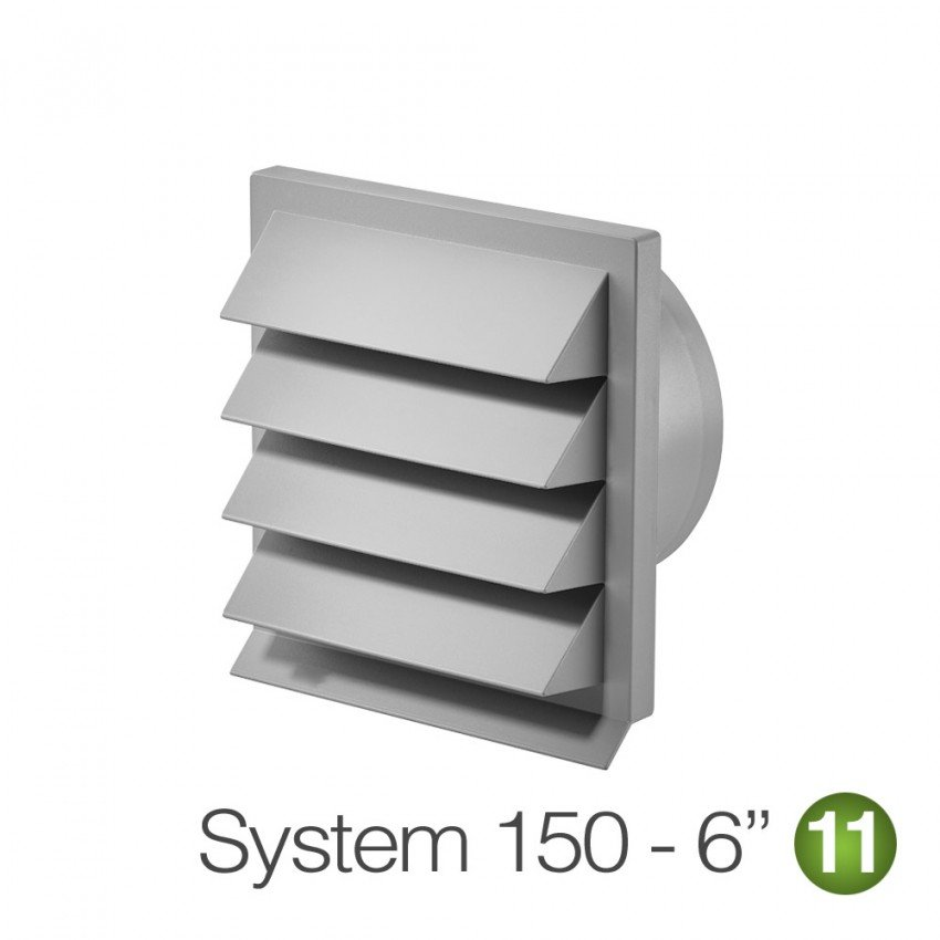 """150mm 6"""" Louvred Wall Vent Grille Light Grey"""