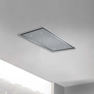 120cm x 70cm ceiling cooker hood with very slim motor unit stainless steel