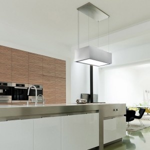Anzi - 90cm x 60cm - Pendant Recirculating Riser - Stainless Steel & White Glass