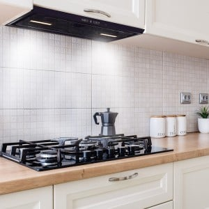 86cm Canopy Cooker Hood - Black Glass