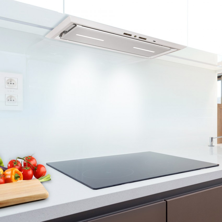 Canopy cooker hood with white glass 54cm