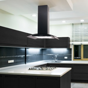 70cm Island Curved Glass Black