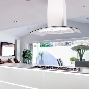 90cm Island Curved Glass White