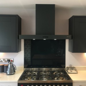90cm cooker hood with baffle grease filters dark grey
