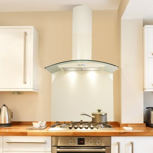70cm Curved Glass Wall Hood - Cream