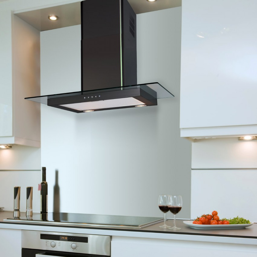 60cm Flat Hood With Glass in Black