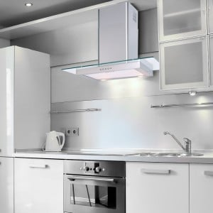 90cm Flat Hood With Glass Stainless Steel