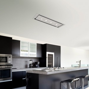 Anzi 120cm Ceiling Hood Pitched Roof - Stainless Steel