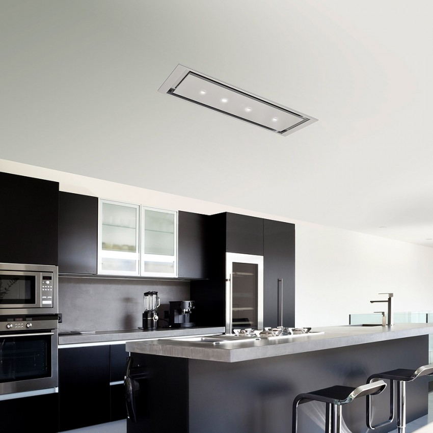 Very slim Ceiling Cooker Hood Extractor Stainless Steel Finish