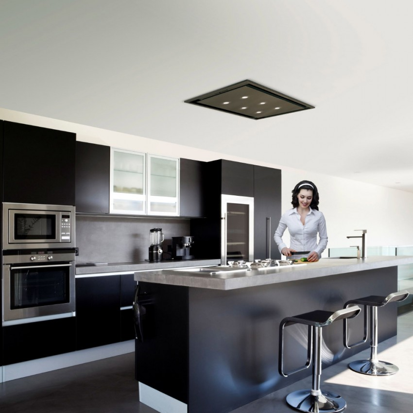 90cm Anzi Black Ceiling Cooker Hood