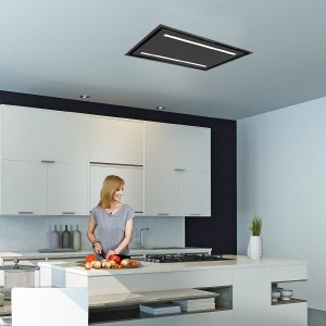 Celux 90cm Slimline Ceiling Cooker Hood - Black with Black Glass