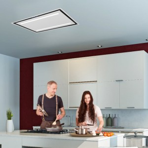 Celux 90cm Slimline Ceiling Cooker Hood - White with White Glass