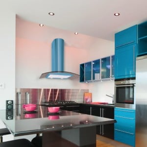blue cooker hoods curved glass
