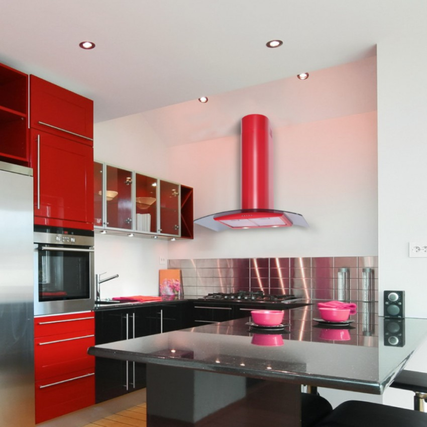 110cm Curved Glass Red Kitchen Hood