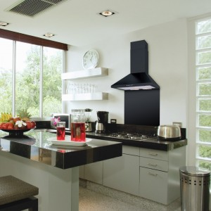 70cm Chimney Hood Black Premium
