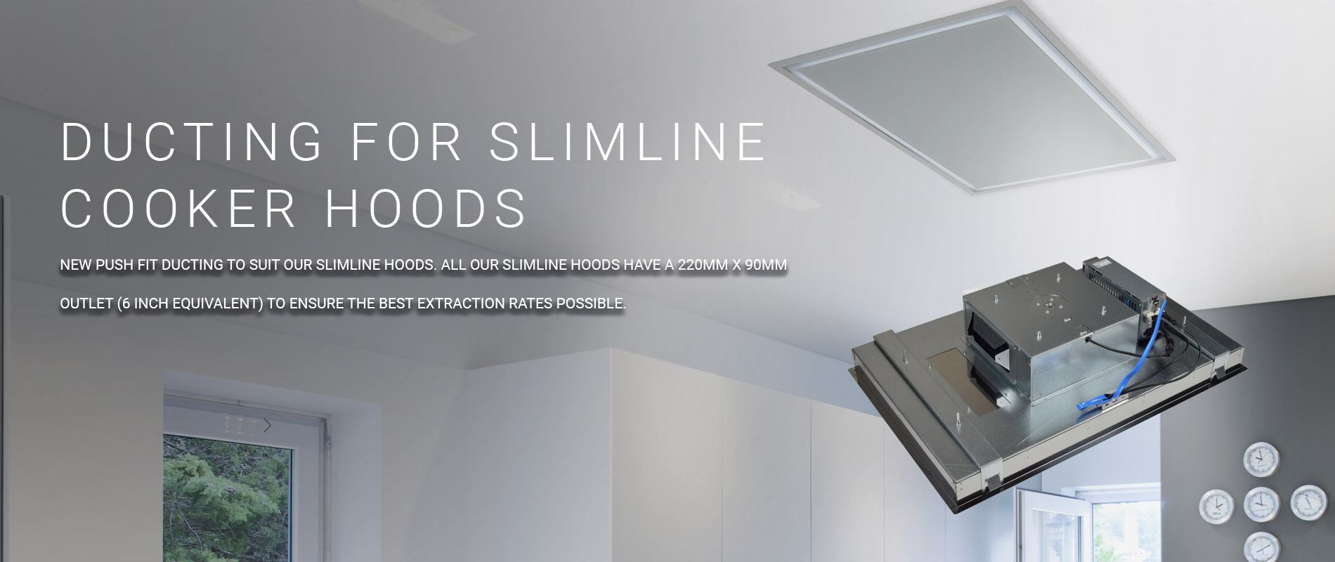 Ducting for slimline ceiling hoods