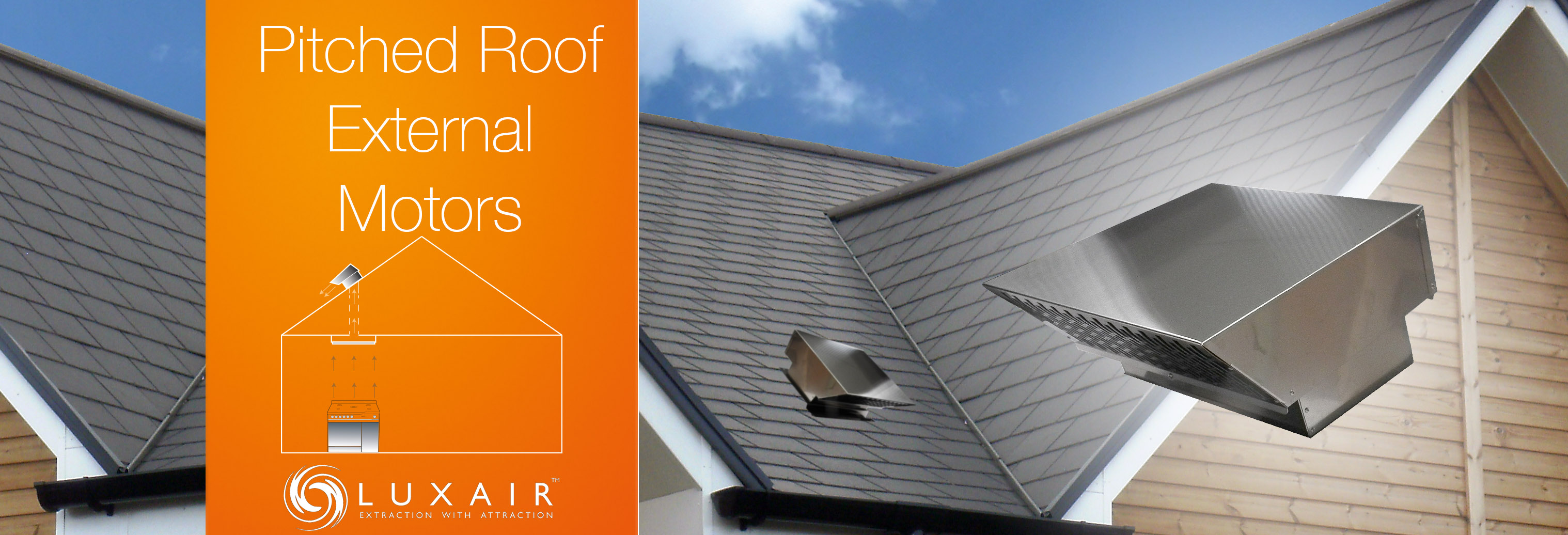 Pitched roof external outside motor for cooker hoods